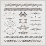 Page decoration borders  frames and hearts Stock Photo
