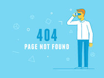 404 page design template and web site under construction. Vector  illustration in trendy line flat style - 404 page design template and web site under Stock Image