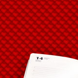 Page diary for February 14 on a red background. With romantic hearts vector illustration