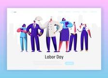 Page différente d'atterrissage de groupe de caractère de profession de Fête du travail Homme et femme nationaux de célébration de illustration libre de droits