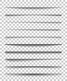Page divider with transparent shadows. Set of pages separation vector isolated. Transparent realistic shadow for web. Banner and advertising. Vector Royalty Free Stock Photography
