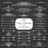 Page dividers and ornate headpieces on a chalkboard background. Vector set of calligraphic elements for page decoration - lots of useful elements to embellish royalty free illustration