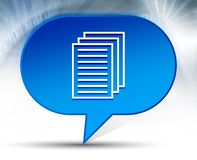Page documents icon blue bubble background. Page documents icon isolated on blue bubble background stock illustration