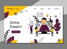 Page en ligne d'atterrissage de soutien, service à la clientèle 24h pour la page Web, support technique de ligne directe, service illustration de vecteur