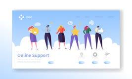 Page en ligne d'atterrissage de support technique de service à la clientèle Causerie de caractère d'opérateur pour aider la solut illustration libre de droits