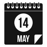 Page en spirale 14ème de calendrier de style simple d'icône de mai illustration libre de droits