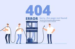 Page 404 error concept. Sorry, page not found web site template with server and network administrators. Vector Stock Image