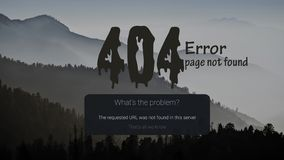 404-page error with the mountain in the background. royalty free illustration