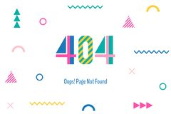 Page with a 404 error in the popular memphis style. Template reports that the page is not found. Digit and geometric elements isolated on white background Royalty Free Stock Images
