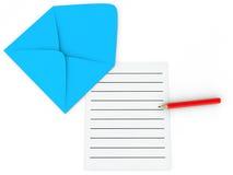 page et crayon de l'enveloppe 3d Photo libre de droits