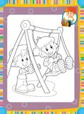 The page with exercises for kids - coloring book - illustration for the children Stock Image