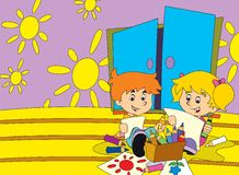 The page with exercises for kids - coloring book - illustration for the children Royalty Free Stock Image