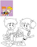 The page with exercises for kids - coloring book - illustration for the children Royalty Free Stock Photo