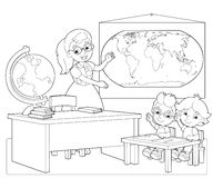 The page with exercises for kids - coloring book - illustration for the children Stock Photo