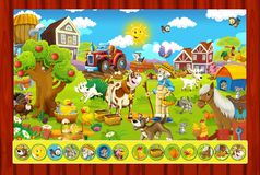 The page with exercises for kids - farm - illustration for the children Stock Images