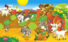The page with exercises for kids - farm - illustration for the children vector illustration