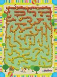 The page with exercises for kids - maze - labirynth - farm - illustration for the children Stock Photos