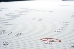Page of figures. With a single figure highlighted with red marker royalty free stock image