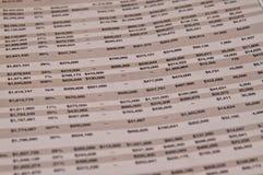 Page financière d'un papier d'affaires Images stock