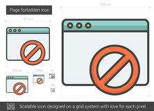 Page forbidden line icon. Stock Images