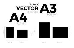 A3 and A4 page format black vector eps10 template. vertical and horizontal orientation. Design with A3 and A4 format size. Vector editable black page template Stock Images