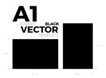 A1 page format black vector eps10 template. vertical and horizontal orientation. Design with A1 format size. Vector editable black page template vector illustration