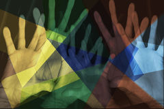 Page of Colorful Hands. Page full of colorful open hands Royalty Free Stock Image