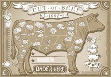 Page graphique de vintage pour le boucher Shop Images libres de droits