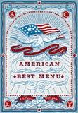 Page graphique de vintage pour le menu américain Photographie stock libre de droits