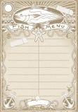 Page graphique de vintage pour le menu de poissons Photographie stock