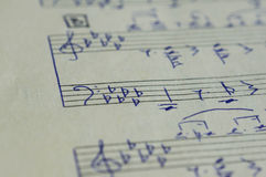 The page with hand-written notes for a piano Royalty Free Stock Images