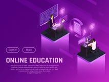 Page isométrique d'éducation à distance illustration stock