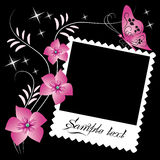 Page layout photo album. With floral ornament Stock Photos