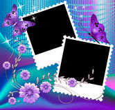 Page layout photo album. With floral ornament Stock Images