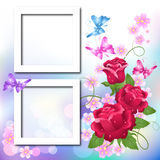 Page layout photo album. With roses and butterfly Royalty Free Stock Images