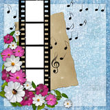 Page layout photo album with flowers, note. Old paper and filmstrip Stock Photo