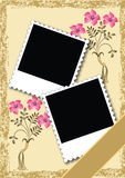 Page layout photo album with ornament Royalty Free Stock Photography