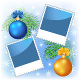 Page layout photo frame with Christmas balls Royalty Free Stock Images