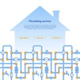Page layout for plumbing service web site. House silhouette with pipeline illustration Stock Photo