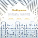 Page layout for plumbing service web site.. Page layout for plumbing service web site. House silhouette with pipeline illustration Royalty Free Stock Photography