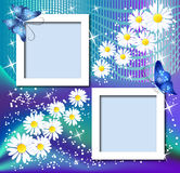 Page layout postcard with flowers Royalty Free Stock Images