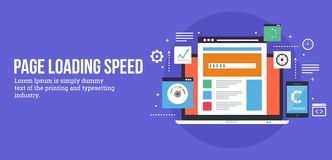 Page loading speed concept - seo analysis. Vector banner. Concept of modern search engine optimization including page loading time. Analysis of a website royalty free illustration