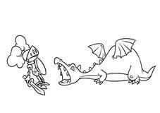 Page médiévale de coloration d'illustration de bande dessinée de chevalier de dragon d'agression de conte de fées illustration libre de droits