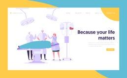 Page médicale d'atterrissage de Team Performing Surgery Operation Concept Docteur Assistant et infirmière Character Operate Patie illustration libre de droits