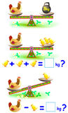 Page with mathematical exercises for young children. Stock Photos