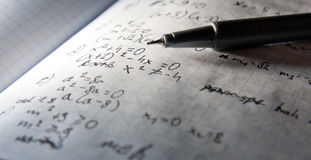 Page of maths notebook- dramatic lightening Stock Image