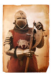 Page of medieval history. Old yellowed sheet of paper with medieval european knight Royalty Free Stock Photography