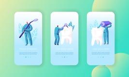 Page mobile d'appli de dents de soin sain de traitement à bord d'ensemble d'écran Dentiste Prevention, blanchiment et brosse à de illustration stock