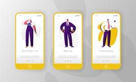Page mobile d'appli du travail de profession de caractère différent d'offre d'emploi à bord d'ensemble d'écran Carrière vide pour illustration de vecteur