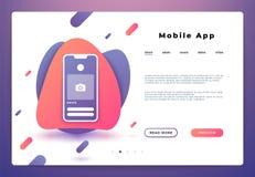 Page mobile d'atterrissage d'appli Ouverture de smartphone de page Web, plate-forme d'ui de site Web, bannière d'affaires Dévelop photographie stock